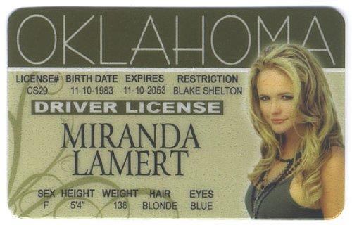 Miranda Lambert Fun Fake ID License