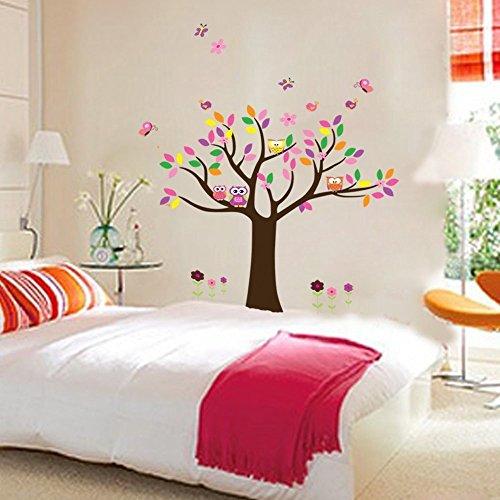 todeal-vinilo-autoadhesivo-para-dormitorio-infantil-con-diseno-de-arbol-buhos-y-mariposas-multicolor