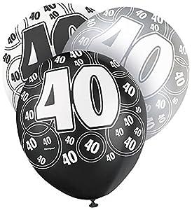 Black Age 40 Happy Birthday Latex Balloons - Pack of 6