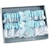 Hortense B. Hewitt Wedding Accessories Double Heart Garter Set, Blue