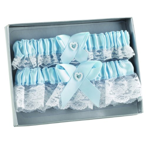 Hortense B. Hewitt Wedding Accessories Double Heart Garter Set, Blue