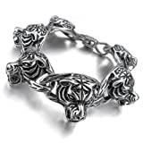 Justeel Men Large 316L Stainless Steel Bracelet Bangle Leopard Tiger Heavy Silver (with Gift Bag) (Width: 0.91