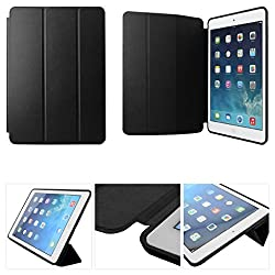 NC Black Slim Snug Fit Tri-Fold Leather Smart Auto Wake/Sleep Book Cover Case for Apple iPad Air