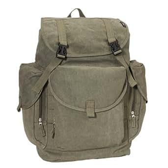 Everest Luggage Canvas Backpack Olive, Olive, One Size