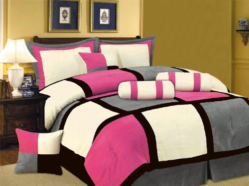 7 PC MODERN Black Hot Pink White Gray Suede COMFORTER SET BED IN A