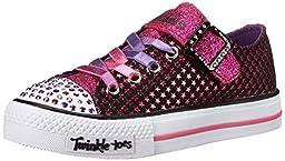 Skechers Kids Twinkle Toes-Mysticals Light-Up Sneaker,Black/Hot Pink,1.5 M US Little Kid