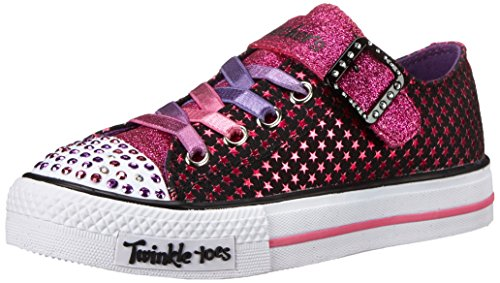 Skechers Kids Twinkle Toes-Mysticals Light-Up Sneaker,Black/Hot Pink,1 M US Little Kid
