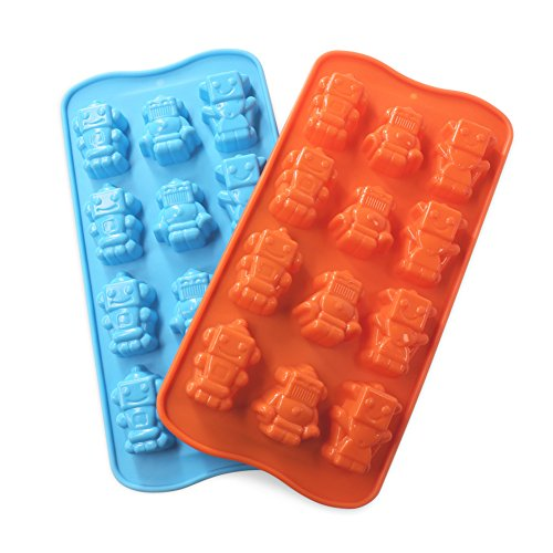 Candy Making Molds, 2PCS YYP [12 Cavity Robot Shape Mold] Silicone Candy Molds for Home Baking - Reusable Silicone DIY Baking Molds for Candy, Chocolate or More, Set of (Homemade Halloween Candy For Kids)