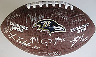 2015 Baltimore Ravens, Team, Signed, Autographed, NFL Logo Football, a Coa with the Proof Photos of Ravens Players Signing the football Will Be Included