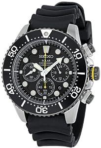 Seiko SSC021P1 - Reloj analógico de cuarzo para hombre con correa de caucho, color negro
