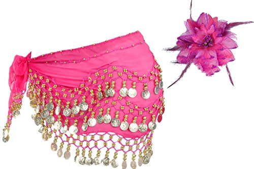 Two in One 128 Golden Coins Hot Pink Belly Dance Hip Scarf Skirt Matching Feather Head Dress Flower