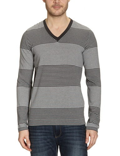 Tom Tailor Denim Men's Striped V-Neck Jumper Grey S