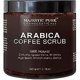 Majestic Pure Arabica Coffee Scrub, 12 Oz - Natural Skin Care for Stretch Marks, Acne & Anti Cellulite Treatment, Powerful Body Scrub Helps Reduce Spider Veins, Eczema, Age Spots & Varicose Veins