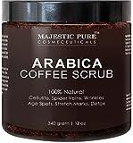 Majestic Pure Arabica Coffee Scrub, Natural Body Scrub for Skin Care, Stretch Marks, Acne & Anti Cellulite Treatment, Reduce the Look of Spider Veins, Eczema, Age Spots & Varicose Veins - 12 OzÊ