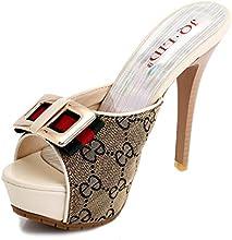 UH Women High Heel Print Splice Platform Dress Slides Slippers