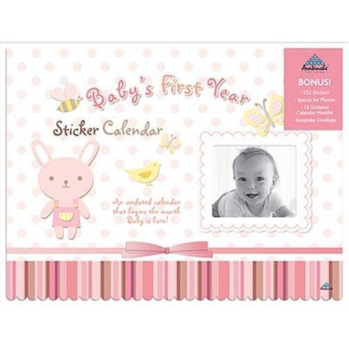 Baby's First Year Girl with Stickers Undated Wall Calendar