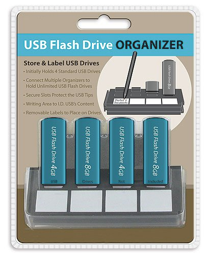 Usb Flash Drive Organizer, Store And Label 4 Usb Drives