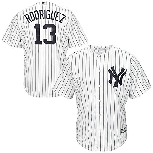 New York Yankees MLB Mens Majestic Alex Rodriguez Cool Base Jersey White Big & Tall Sizes (2XL) (Mlb Men Jersey New York compare prices)