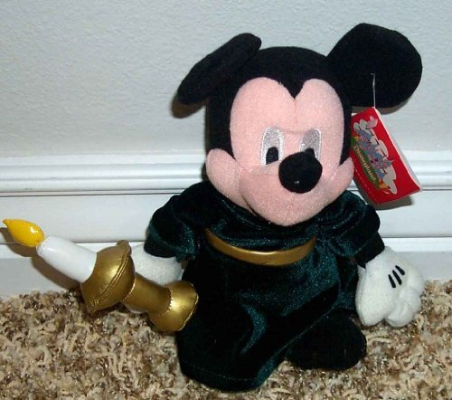 "Disney 9"" Plush Bean Bag Mickey Mouse Christmas Candle Doll"