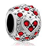 Pugster Jewelry January Birthstone Heart Beads - Pandora Charm & Bracelet Compatible