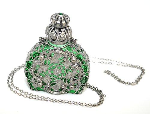 Czech Jewelled Decorative Green Perfume Oil Bottle Holder Necklace/pendant