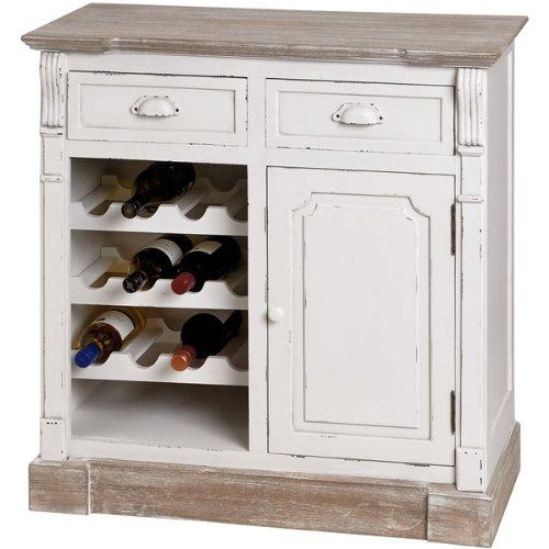 ANTIQUE WHITE KITCHEN CABINET UNIT WITH WINE RACK SHABBY CHIC HAMPTON (H13403) ** FULL RANGE OF MATCHING FURNITURE IS AVAILABLE **
