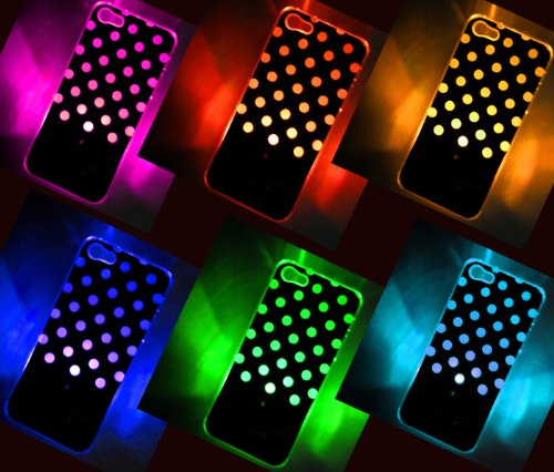 Polka Dot LED Color Changing Sense Flash Light Up Case Cover For iPhone 5 5G 5th