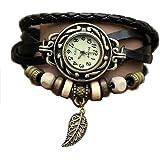 Feuille Montre - Bracelet cuir - Weave Wrap Around- Quartz Mode Rétro - Montre de femmes de dames + Gratuit Poche Caisse