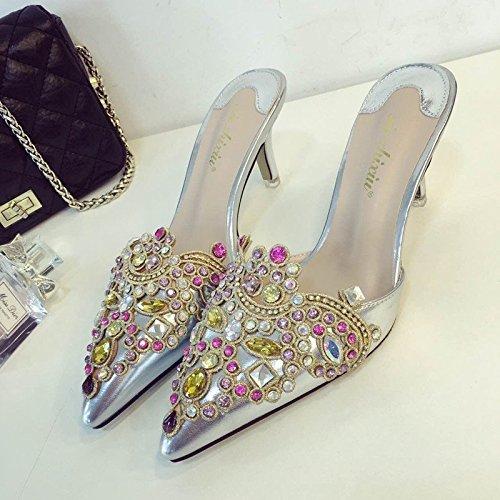 Le donne estate a spillo tacco alto pantofole che Baotou punta diamante Sandali donna , silver , 37