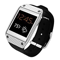 Skinomi® TechSkin - Samsung Galaxy Gear Screen Protector + Carbon Fiber Silver Full Body Skin Protector / Front & Back Premium HD Clear Film / Ultra High Definition Invisible and Anti Bubble Crystal Shield with Free Lifetime Replacement Warranty - Retail