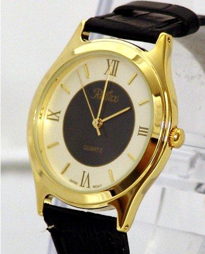 Ladies Gold Watch  Roman Numerals and Black Strap