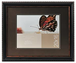 Gallery Solutions Black Wall Frame with Brown Embellishments, 20 by 16-Inch Matted Opening to Display 14 by 11-Inch Photo