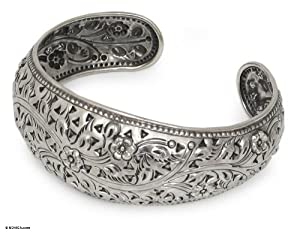Sterling silver cuff bracelet, 'Sweet Jasmine' - Handmade Floral Sterling Silver Cuff Bracelet from Thailand from NOVICA