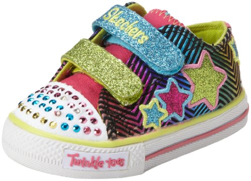 Skechers Girls Twinkle Toes Shuffles Triple Up Multi Low-Top 10249L 3 UK, 36 EU