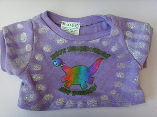 Build a Bear Workshop Dino T-Shirt Purple Doll Clothing ;