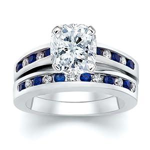 3.51 ct Cushion Diamond W Round Blue Sapphire Ring Set