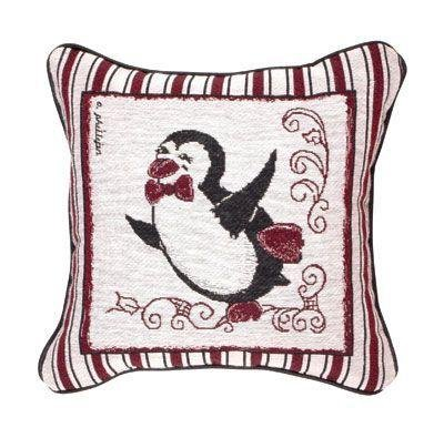 Snow Penguins Holiday Tapestry Toss Pillow (Dancer) front-969099