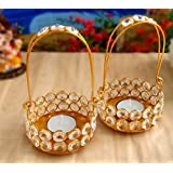 TiedRibbons Gift For Diwali Crystal Tealight Candles Holder Pack Of 2(6.2 Inch X 3.5 Inch,Golden,Brass) With T-lights
