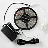 SUPERNIGHT (TM) Warm White LED Strip Light Ribbon Plug-To-Use Kit, 5M or 16.4ft, SMD 5050, Waterproof 300 LEDs, With 12V 5A Transformer/Power Supply and Dimmer