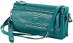 Heshe Soft Leather Crocodile Clutch Organizer Purse Shoulder Crossbody Wrislet Bag Satchel Purse Handbag for Women Hot Sell (See Blue 1)