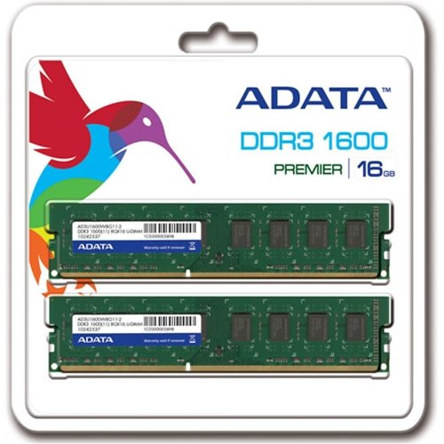 A-DATA 240pin Unbuffered DIMM DDR3-1600 PC3-12800 16GB(8GBx2) CL11[14665] 増設メモリ AD3U1600W8G11-2