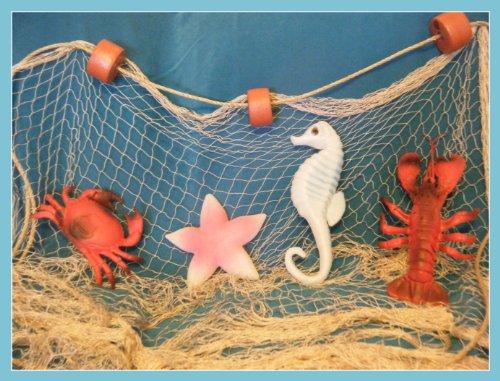 6' X 8' New Fishing Net Lobster Crab Starfish Seahorse Nautical Display