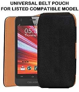 JKOBI(TM) Exclusive Belt Case Mobile Leather Carry Pouch Holder Cover With Belt Clip For CelkonCampus A35K-BLACK