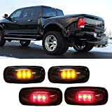 iJDMTOY (4) Smoked Lens LED Fender Bed Side Marker Lights Set For Dodge RAM 2500 3500 HD Truck (2 x Amber, 2 x Red)