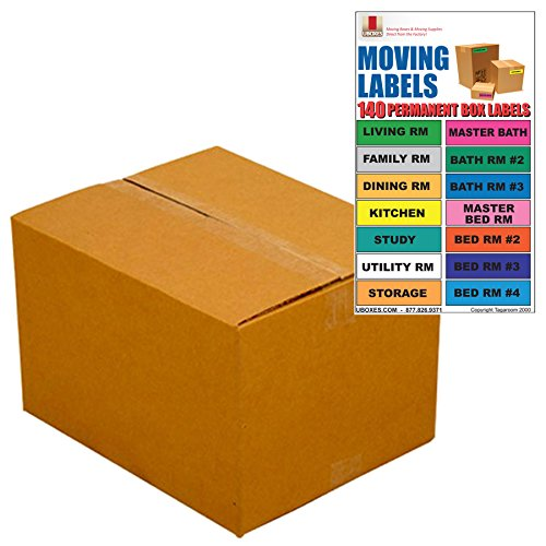 UBOXES Medium Moving Boxes – Pack Of 10 – 18″x14″x12″ & Moving Labels