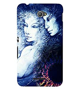 PrintVisa Modern Art Romantic Lovers 3D Hard Polycarbonate Designer Back Case Cover for Sony Xperia E4 Dual