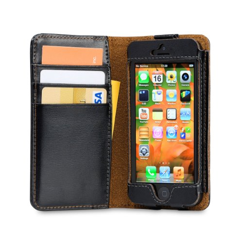 Best Price Acase iPhone 5s Case/ iPhone 5 Case - Genuine Leather Wallet Case for iPhone 5s / iPhone 5 - Black
