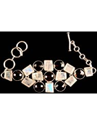 Exotic India Faceted Rainbow Moonstone Bracelet With Smoky Quartz - Sterling Silver
