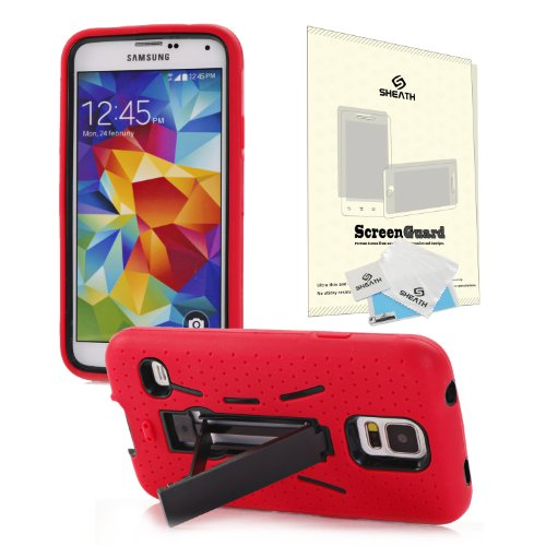 Hybrid Shock Proof Combo Hard Case Cover For Samsung Galaxy S5 Sv I9600 With Kick Stand + Sheath Screen Protector From At&T, Sprint, Verizon, Metropcs Galaxy S5 (Red)