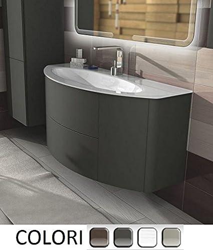 Mobile Arredo Bagno Eden sospeso 90 cm 4 colori lavabo in cristallo bianco Mobili